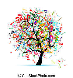 дерево, дизайн, концепция, поход по магазинам, ваш