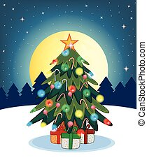 дерево, дизайн, рождество, ваш
