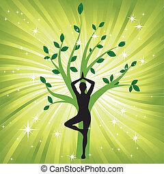 дерево, женщина, йога, asana