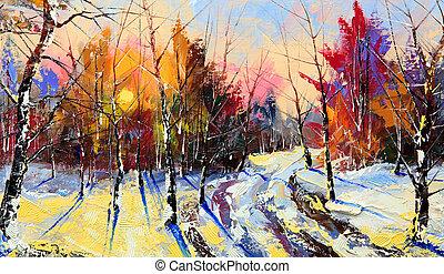 дерево, закат солнца, зима