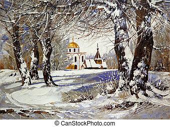 дерево, зима, пейзаж, церковь