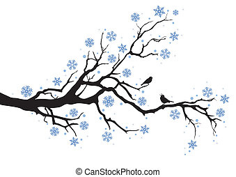 дерево, зима, филиал