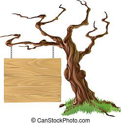 дерево, иллюстрация, знак
