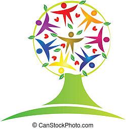 дерево, командная работа, логотип