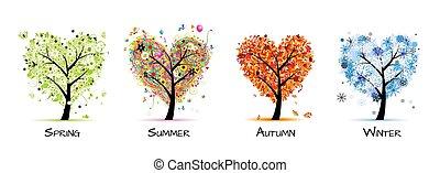 дерево, красивая, -, весна, лето, 4, seasons, ваш, дизайн, изобразительное искусство, осень, winter.