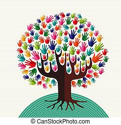 дерево, красочный, солидарность, руки