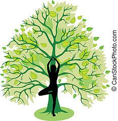 дерево, поза, йога