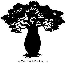 дерево, силуэт, африканец