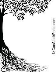 дерево, силуэт