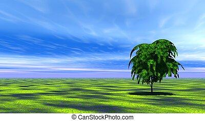 дерево, трава, зеленый