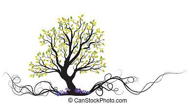 дерево, цветы, вектор, корень