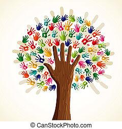дерево, multi-ethnic, красочный