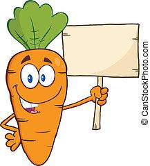деревянный, веселая, морковь, доска, держа