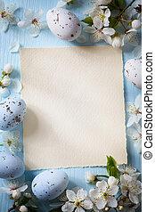 деревянный, весна, задний план, пасха, цветы, изобразительное искусство, eggs