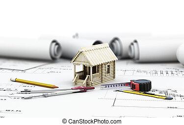 деревянный, дом, архитектор, drawings, инструменты