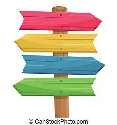 деревянный, маршрут, вектор, знак