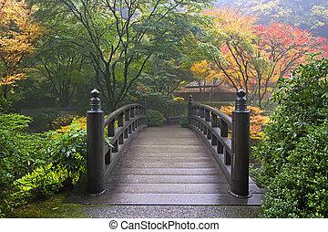 деревянный, мост, японский, сад, падать