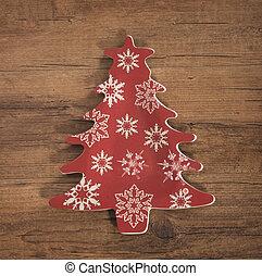 деревянный, над, дерево, украшение, задний план, рождество