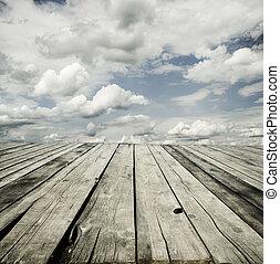 деревянный, небо, задний план, палуба
