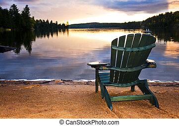 деревянный, пляж, стул, закат солнца