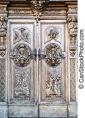 деревянный, портал, carved