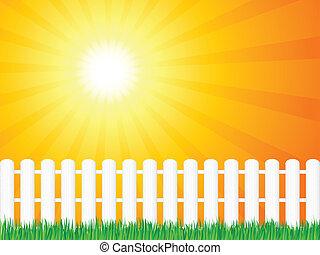 деревянный, трава, забор