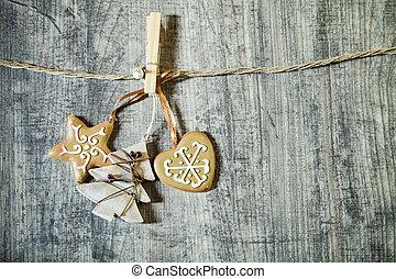 деревянный, украшения, рождество, задний план
