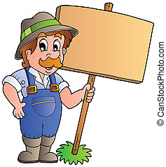 деревянный, фермер, доска, держа, мультфильм