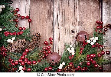 деревянный, berries, рождество, задний план
