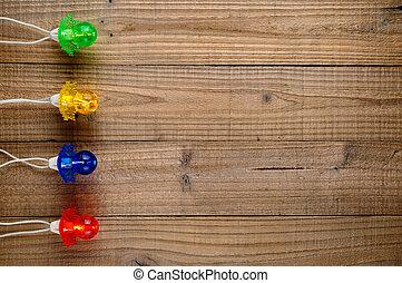 деревянный, lights, рождество, задний план