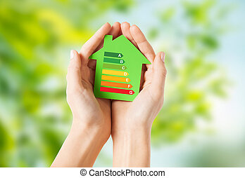 держа, бумага, дом, зеленый, руки