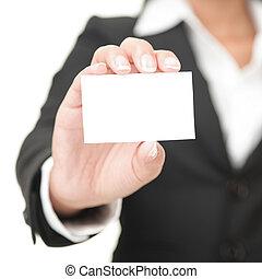 держа, знак, бизнес, бизнес-леди, карта, -, пустой