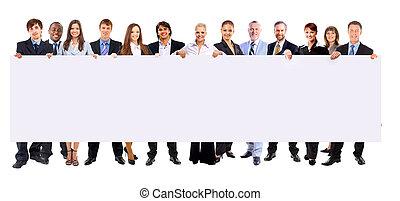 держа, люди, баннер, бизнес, задний план, длина, isolated, полный, ряд, многие, пустой, белый