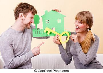 держа, пара, дом, cutouts., ключ