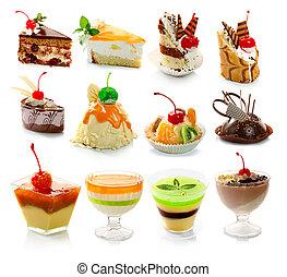 десерт, delicous, белый, isolated, коллекция