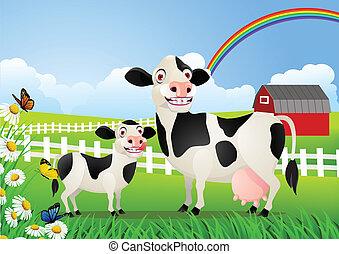 детка, выгон, корова, мама