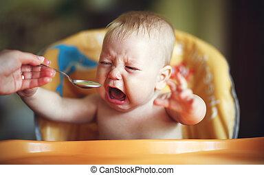 детка, капризный, есть, отказаться, плакать