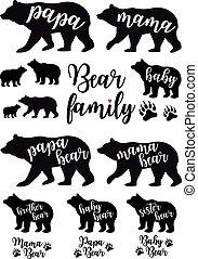 детка, медведь, вектор, папа, мама, задавать