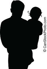 детка, отец, девушка, вместе
