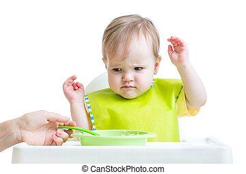 детка, ребенок, отказывающийся, есть