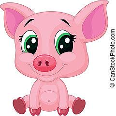 детка, свинья, мультфильм, милый