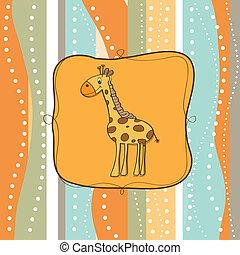 детский, жирафа, приветствие, карта
