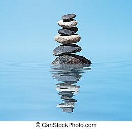 дзэн, -, медитация, стек, сбалансированный, задний план, отражение, stones, воды