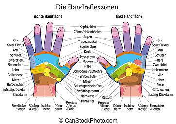 диаграмма, рука, рефлексология, описание