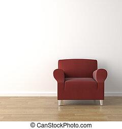 диван, красный, стена, белый