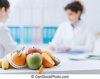 диетолог, встреча, пациент, офис