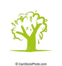 дизайн, значок, дерево, зеленый, ваш