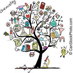 дизайн, концепция, дерево, ваш, химия