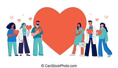 дизайн, красный, doctors, вы, концепция, -, сердце, группа, nurses, professionals, задний план, медицинская, спасибо