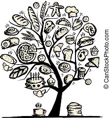 дизайн, пекарня, концепция, дерево, ваш